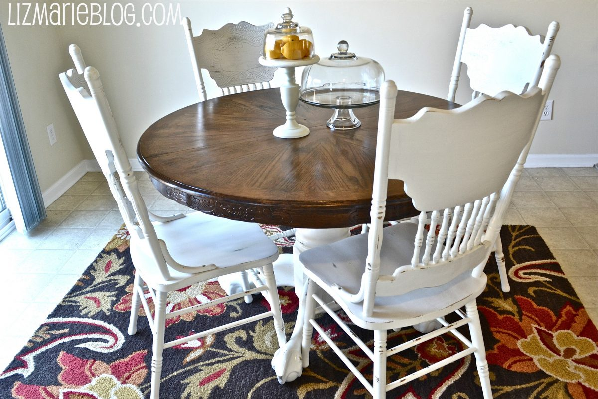 Wood Stain Amp White Kitchen Table Liz Marie Blog