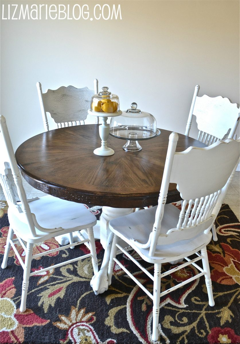 Wood Stain & White Kitchen Table