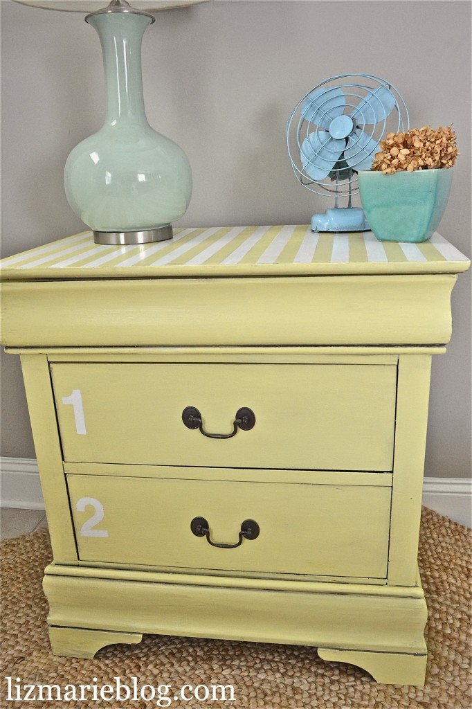 striped nightstand with numbers