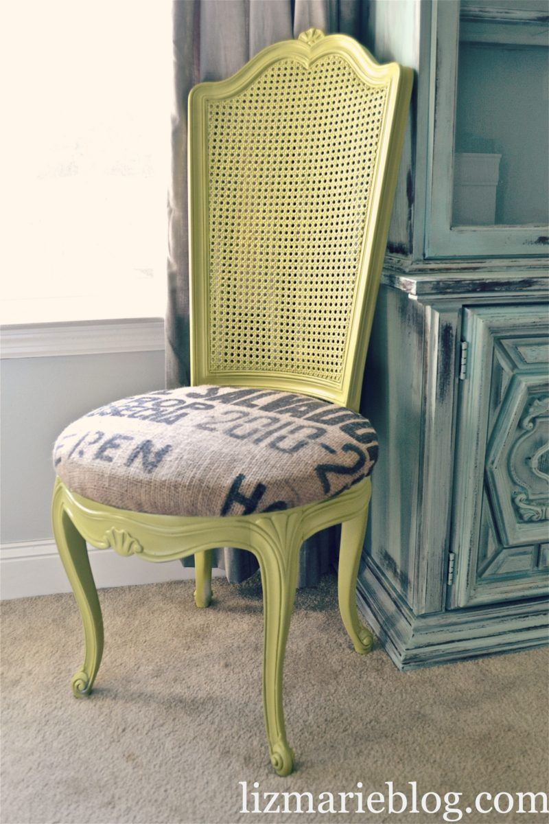 Avocado and Burlap Chair