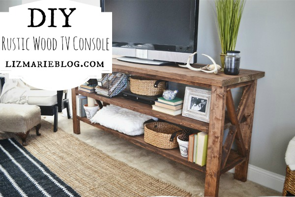 Diy rustic tv console for Diy pallet tv stand instructions