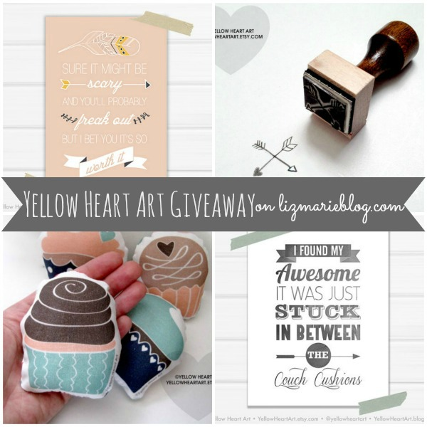 yellow heart art giveaway
