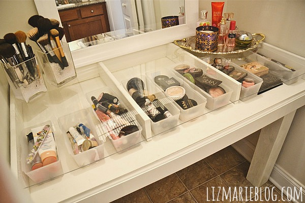 Diy glass top makeup vanity for Glass makeup table