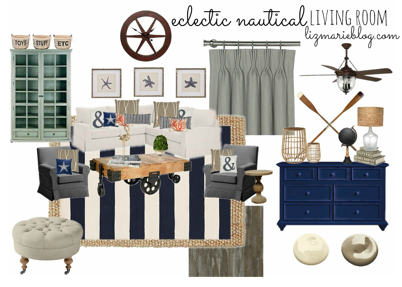 eclectic nautical living room liz marie blog. Black Bedroom Furniture Sets. Home Design Ideas