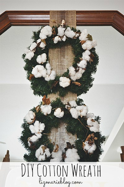 DIY rustic cotton Christmas wreath - lizmarieblog.com