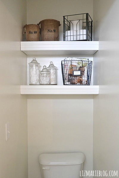 DIY Floating Bathroom Shelves - lizmarieblog.com