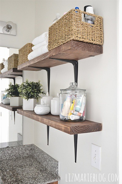 DIY rustic bathroom shelves. So easy!! - lizmarieblog.com
