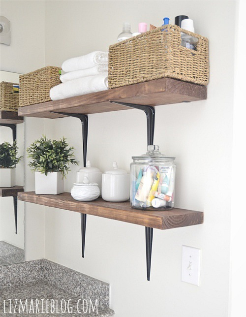 DIY Rustic Wood Metal Bathroom Shelves