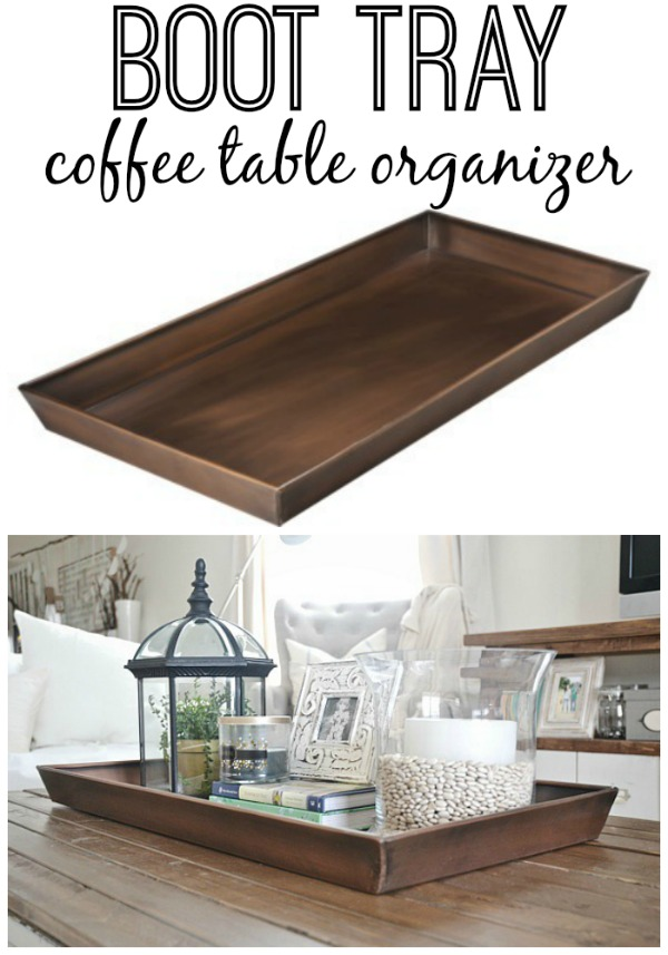 Diy boot tray to coffee table organizer for Trays on coffee tables