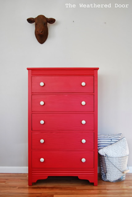 custom red dresser with white and silver knobs WD 2
