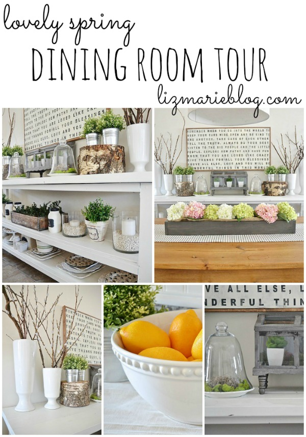 Lovely spring dining room tour!! Get inspired by some great ideas on how to decorate your home for spring. - lizmarieblog.com