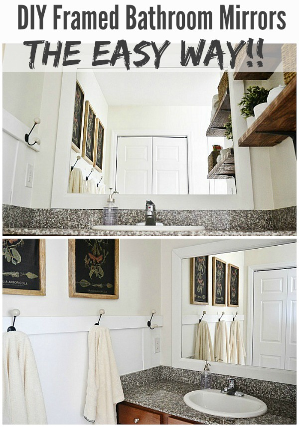 DIY framed bathroom mirrors - THE EASY WAY!! See how to frame your bathroom mirrors to make your bathrooms look amazing & it's so simple! A must pin!
