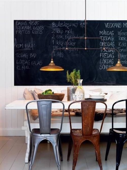 Trend to love: Dining room chalkboard wall - lizmarieblog.com