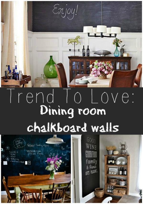 Trend to love: Diningroom chalkboard wall - lizmarieblog.com