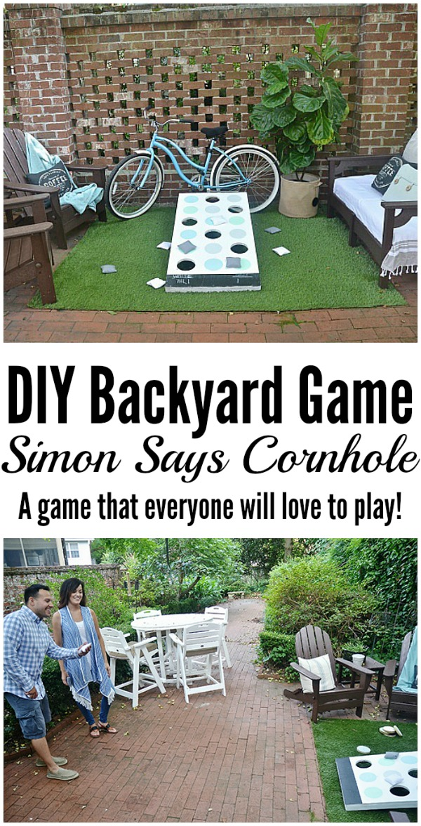 DIY Backyard Game - Simon says corn hole -  A super easy game to make that everyone will love to play!