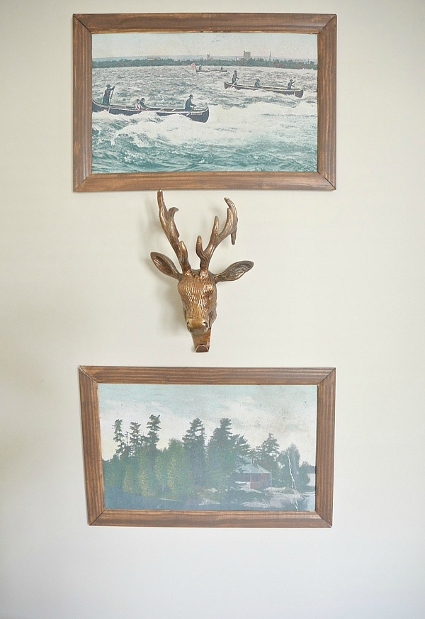 DIY postcard art - Simply blow up postcards & make some simple frames for the blown up postcards. Such easy inexpensive art!