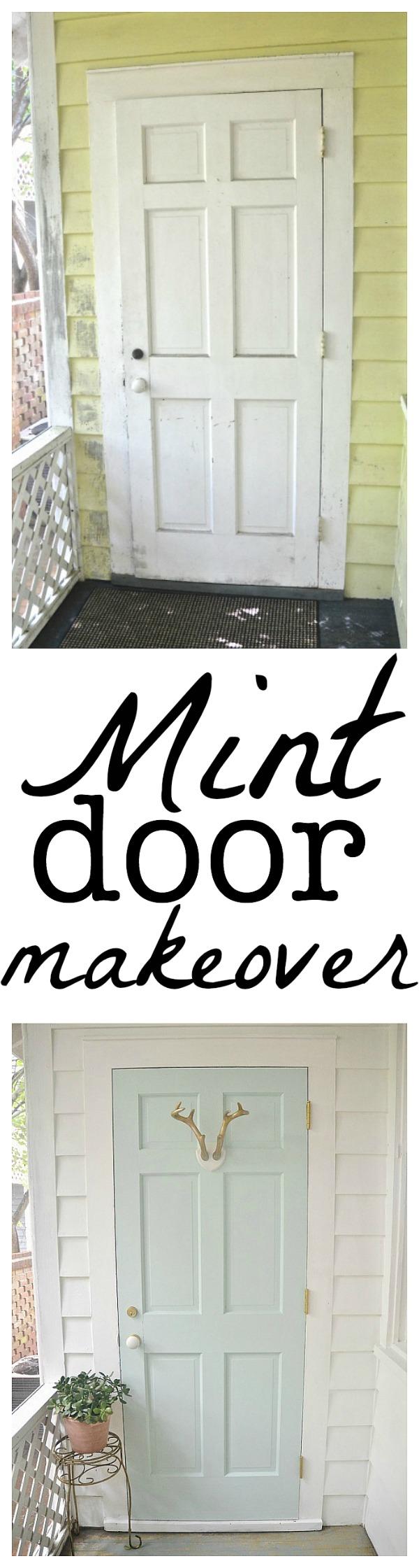 Mint door makeover - Behr Whipped Mint - lizmarieblog.com