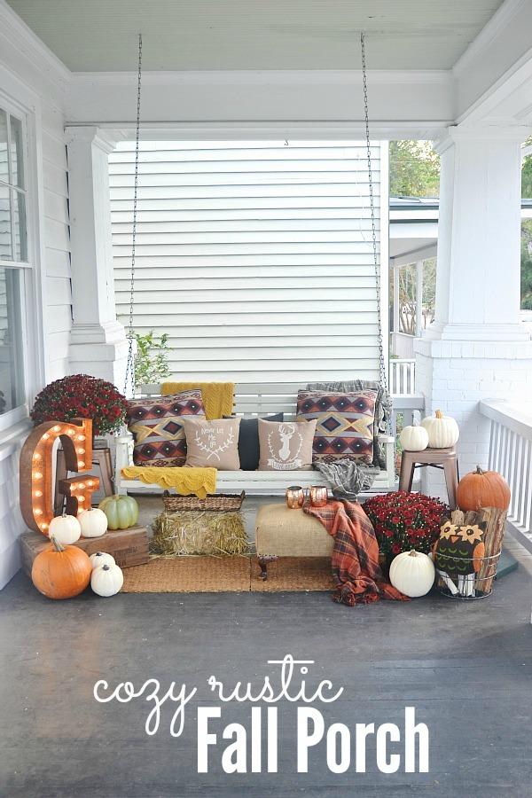Cozy rustic fall front porch - lizmarieblog.com