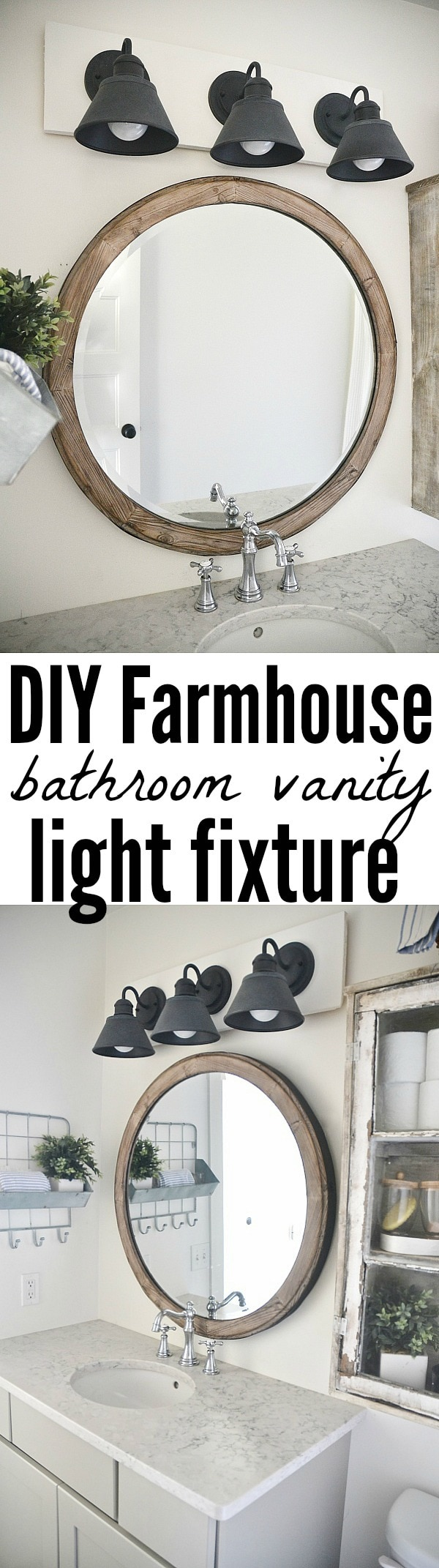 Diy farmhouse bathroom vanity light fixture - Round mirror over bathroom vanity ...