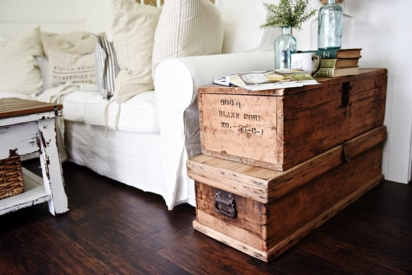 Living Room Makeover Stacked Trunk End Table Liz Marie Blog