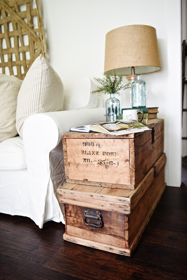 Living Room Makeover Stacked Trunk End Table Liz Marie