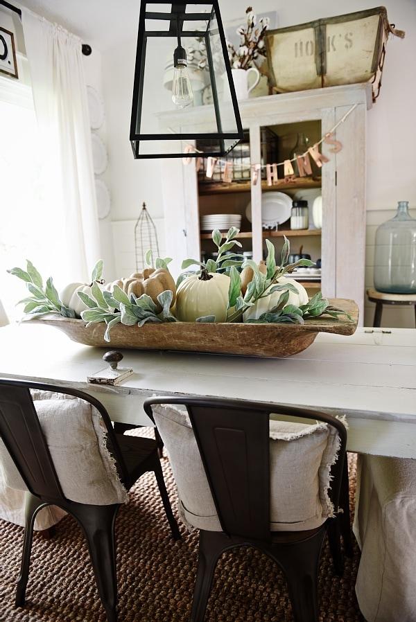 Simple dough bowl fall centerpiece liz marie blog - Kitchen table centerpiece bowls ...