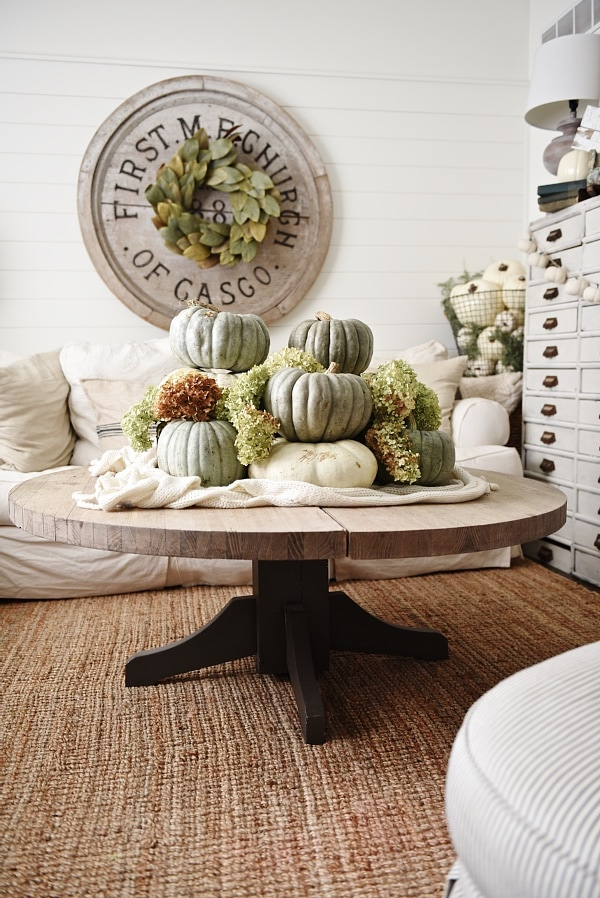 Neutral Fall Decor Heirloom Pumpkin Coffee Table Liz Marie Blog