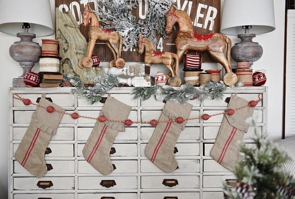 Lovely Vintage Style Christmas Decor On A Faux Mantel Card Catalog Neutral Farmhouse