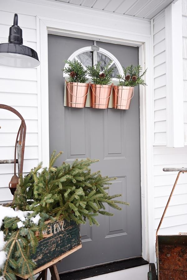 DIY Hanging Bucket Christmas Wreath