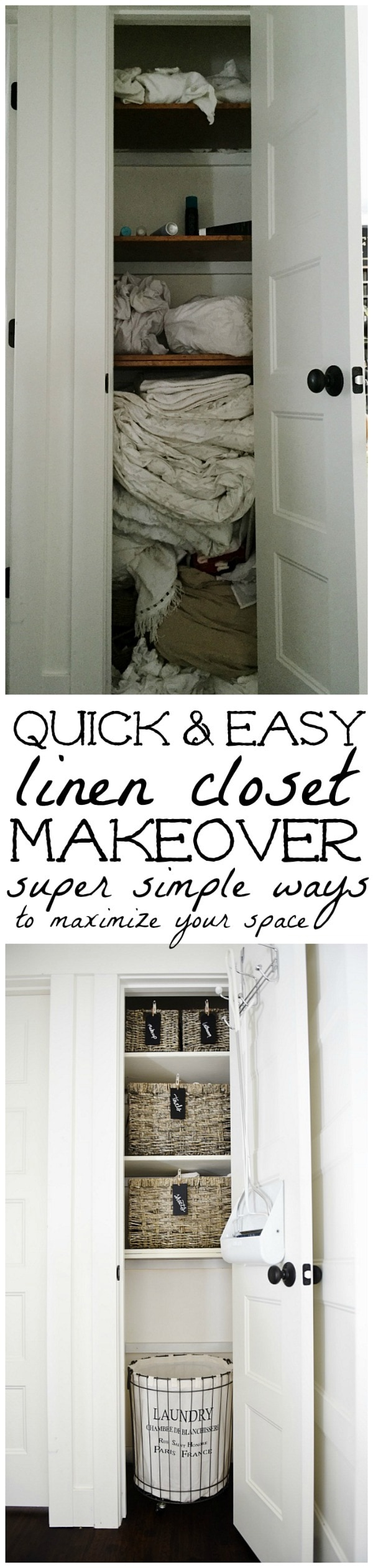 Quick & Easy linen closet makeover - Super simple ways to maximize small spaces & make them presentable to your family & guests.