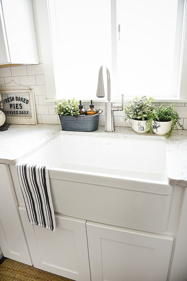 Farmhouse sink review pros cons for Bathroom countertop accessories sets