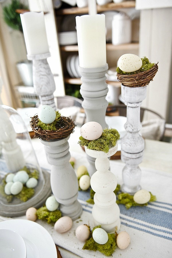 Easter Tablescape Amp Handmade Candle Holders