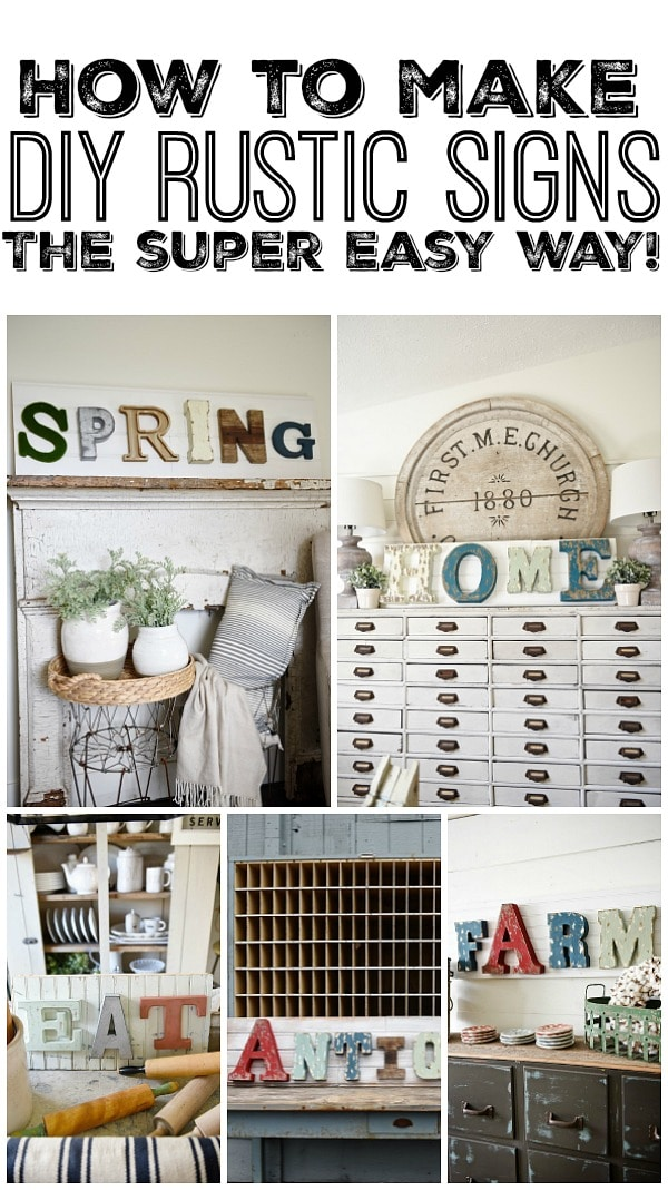 How to make DIY rustic Signs the super easy way! A great blog post for a source for these awesome letters & an easy way to make signs for any room of your home!-