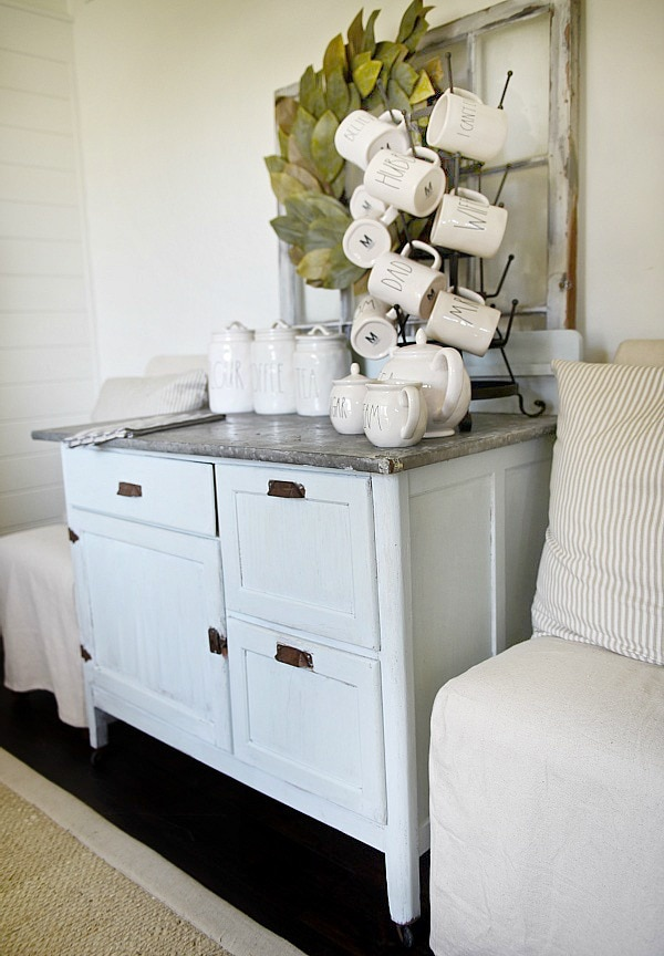 Dry sink makeover with chalk paint - A simple makeover dresser to coffee bar makeover. A must pin for furniture makeovers & any future DIY coffee bars.