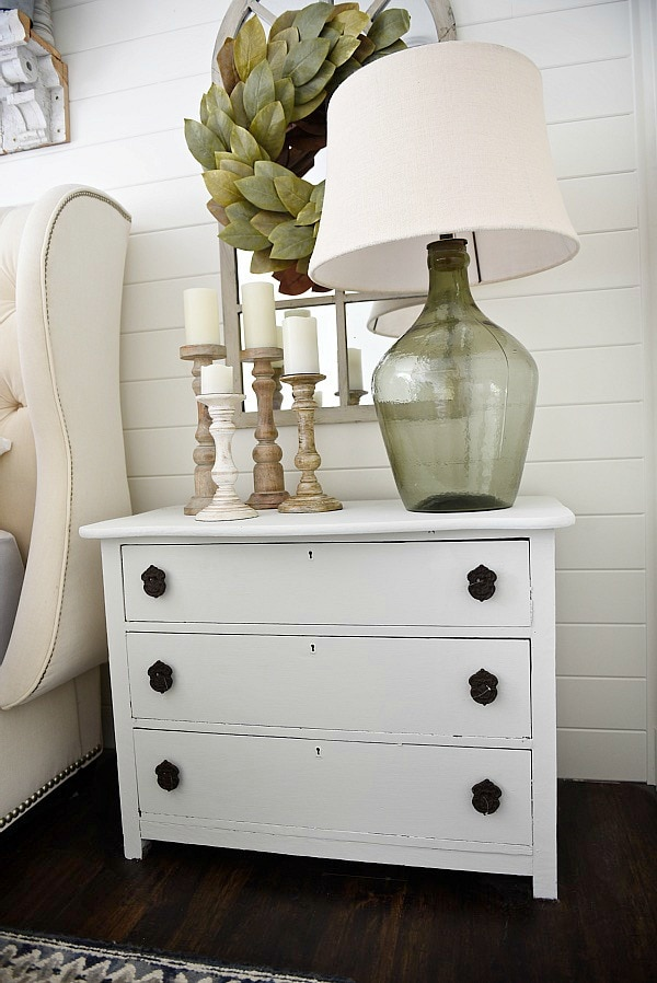 Neutral master bedroom - Nightstand makeover with magnolia home paint in one horn white. A must pin for farmhouse style & cottage style decor!