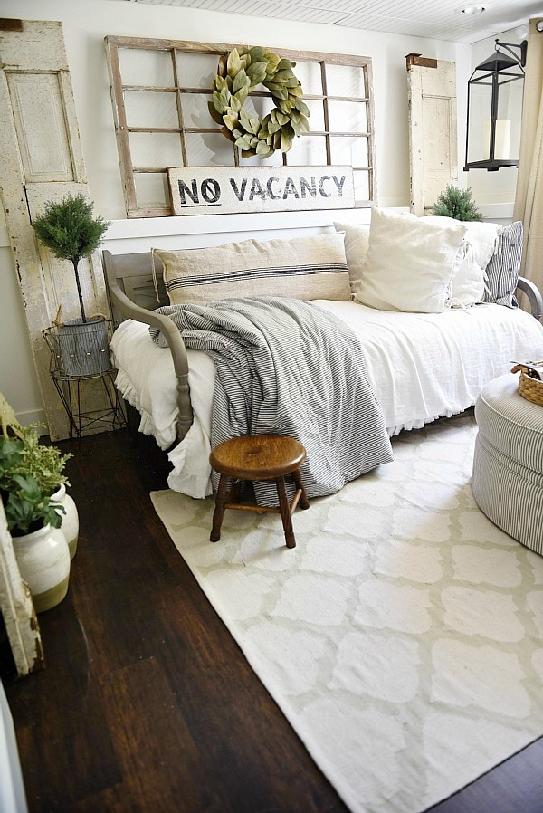 Farmhouse guest bedroom makeover for Farmhouse style bed