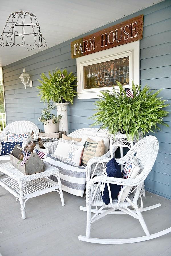 Farmhouse Fourth Of July Porch