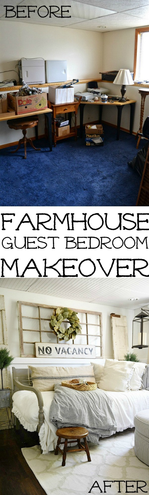 Guest bedroom makeover - See how this bedroom was turned into a dreamy farmhouse guest bedroom with all of the sources! A great blog for farmhouse decor inspiration!