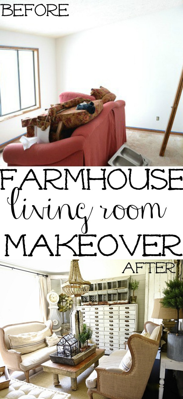 Rustic farmhouse living room - see how to create this cozy living room with a mix of old & new items. A must pin for farmhouse decor!