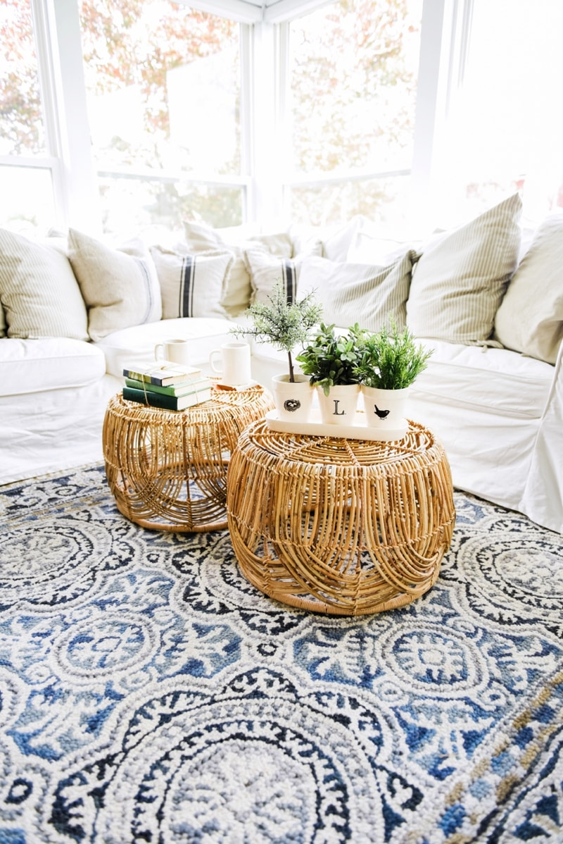 Wicker Coffee Table Sunroom Living Room Design by Liz Marie Blog_0010