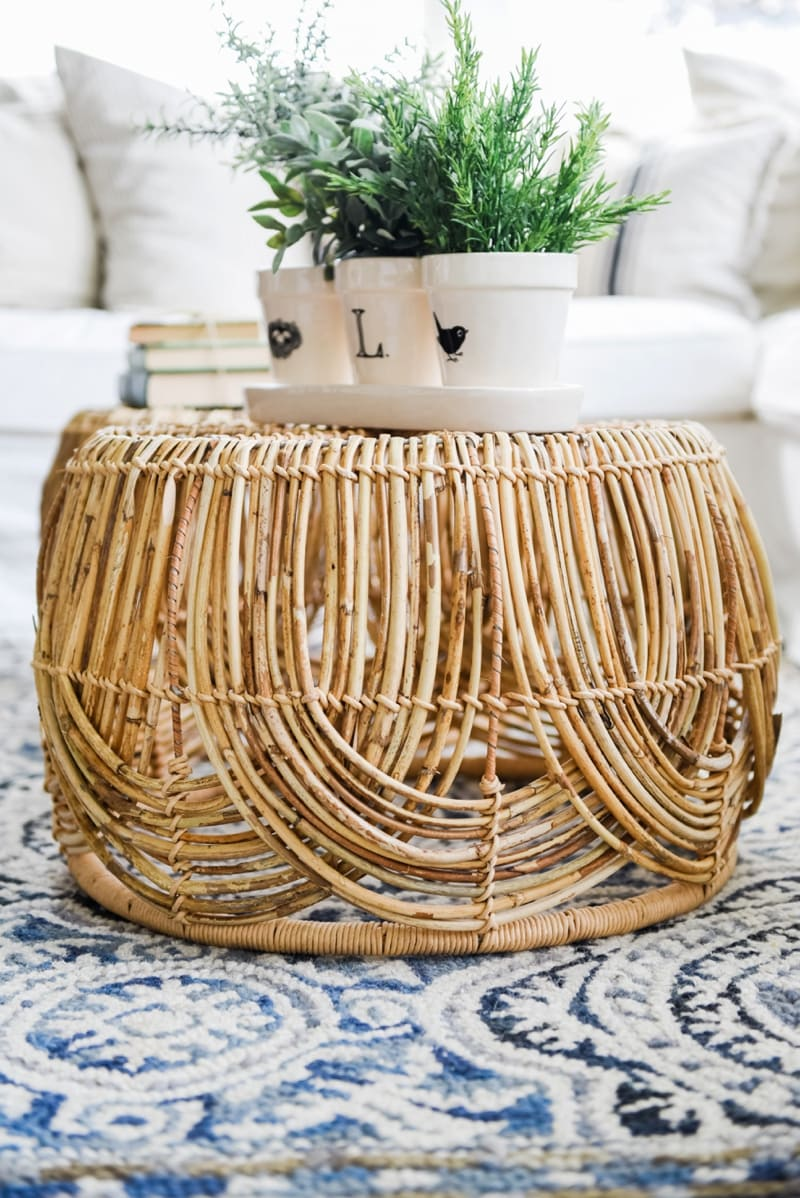 Wicker Coffee Table Sunroom Living Room Design by Liz Marie Blog_0011