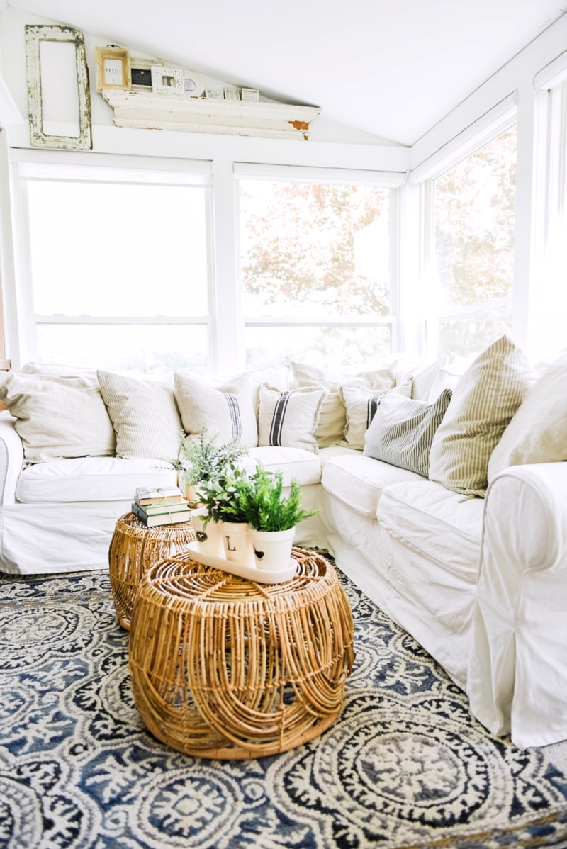 Wicker Coffee Table Sunroom Living Room Design by Liz Marie Blog_0012