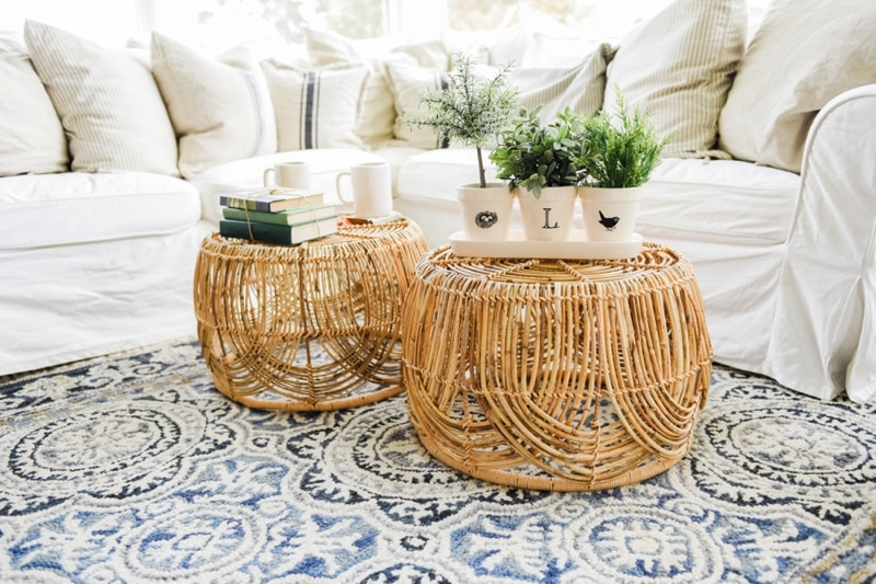 Wicker Coffee Table Sunroom Living Room Design by Liz Marie Blog_0015