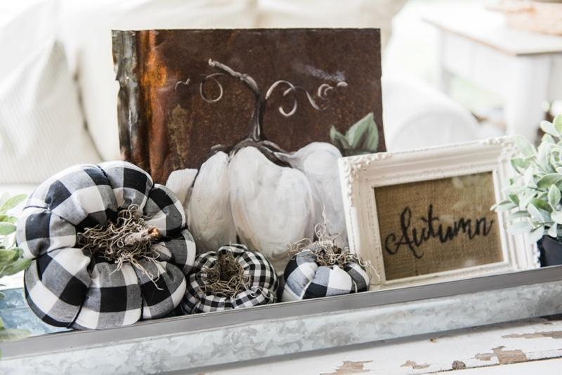 Fall chicken feeder centerpiece - fall coffee table centerpiece. Lovely farmhouse neutral fall decor.