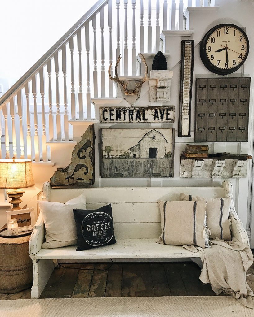 Shiplap in the front living room for Farmhouse cottage decor
