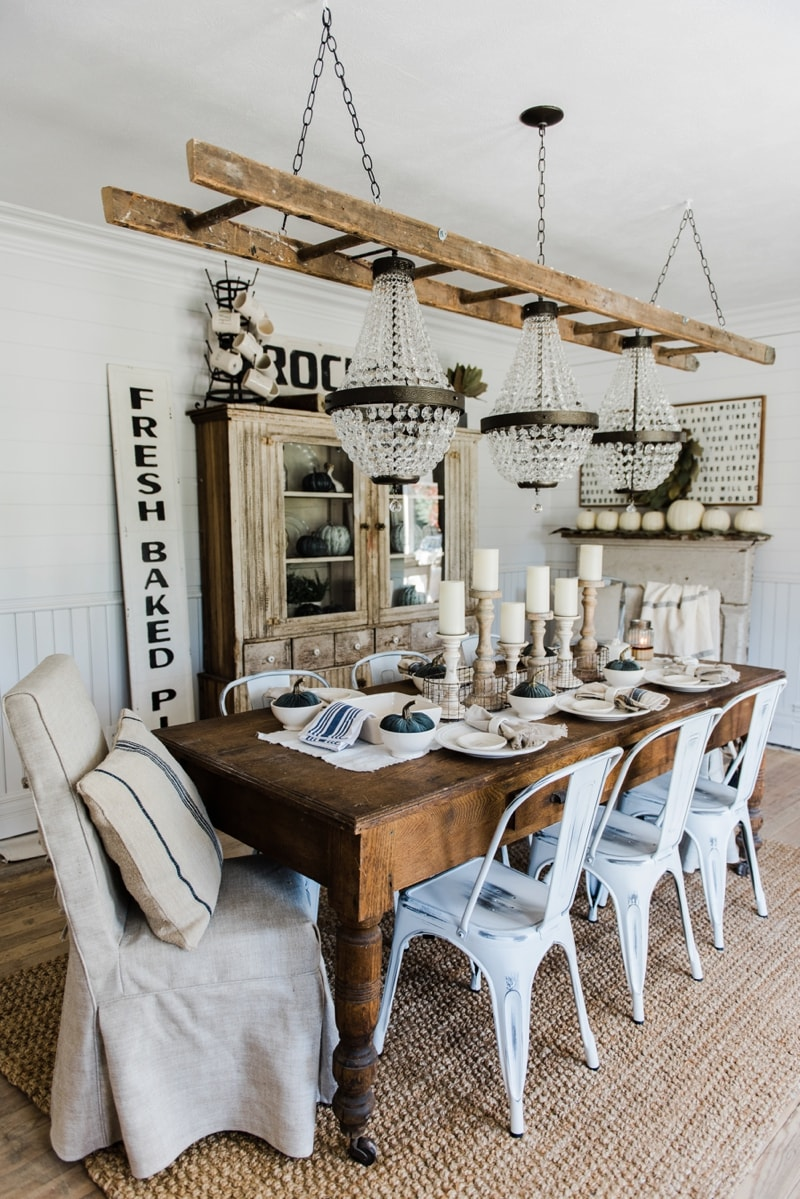 Simple neutral fall farmhouse dining room liz marie blog - Home decorated set ...