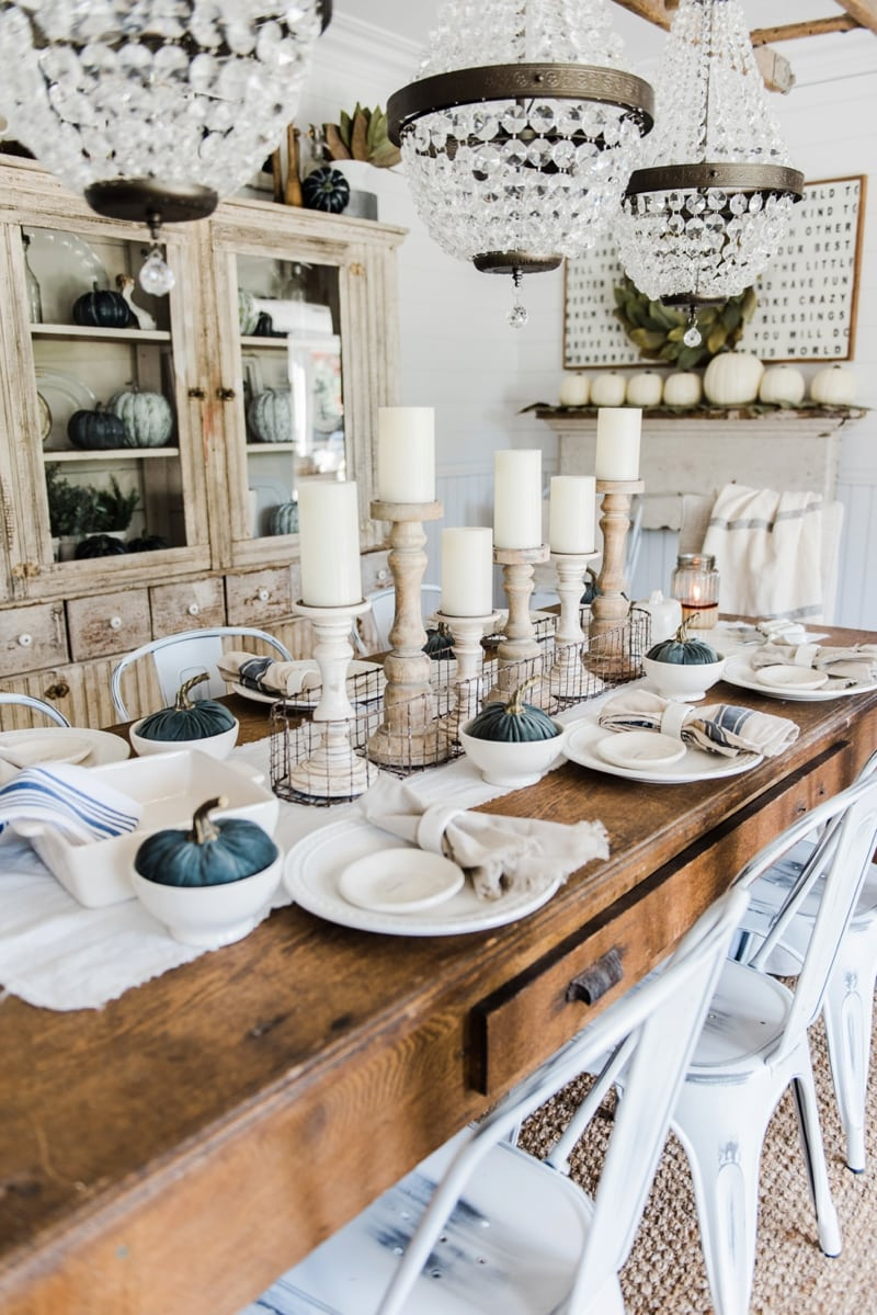 Simple neutral fall farmhouse dining room for Contemporary tabletop decor