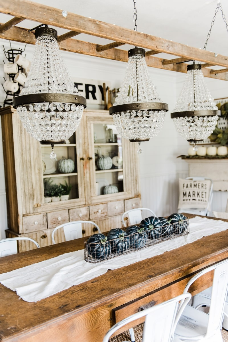 Farmhouse dining room makeover - Crystal chandelier update.