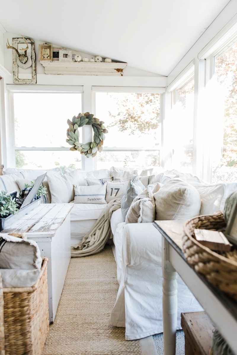 Cozy farmhouse fall sunroom liz marie blog for Farmhouse cottage style