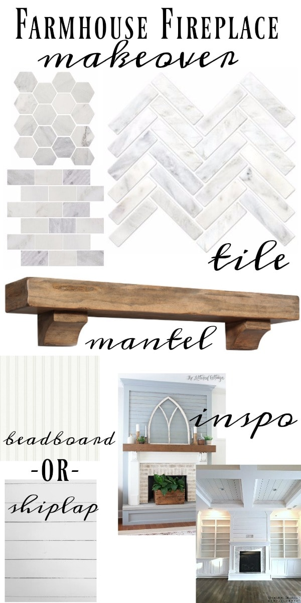 Farmhouse Fireplace makeover - Marble tile, barnwood mantel, shiplap or beadboard, & so many more lovely elements.